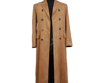 Who is Doctor Who Dr. Brown Long Trench Coat Jacket Cosplay Costumes