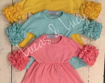 Infant/toddler/girls Spring Solid 3/4 ruffled sleeve flutter boutique style little girls dress