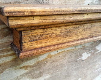 Stained mantel or shelf- you choose- free shipping-stained, french country, primitive, wood shelf, antique mantel