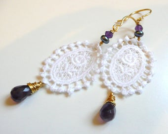 Earrings romantic lace with amethyst and genuine Pearl White purple gold playful gift