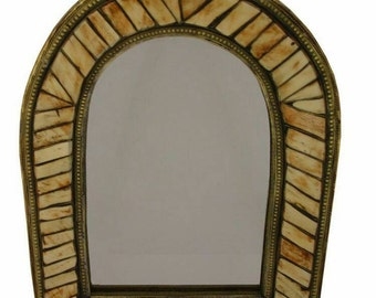 Moroccan mirror handcrafted from wrought Iron and bones 38 cm x 30 cm
