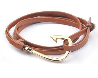 Hook Nappa Leather Strap Bracelet Tan & Gold