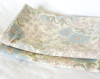 Floral Yellow Blue Lilac Pillow Cases x 2