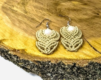 Macrame earrings Ethnic jewelry Pearl earrings Woven earrings Ethnic earrings Beige earrings Design earrings Nude earrings Natural pearl