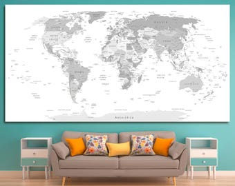 Large Gray World Map Canvas wall art, Push pin gray travel detailed world map Gray world wall map canvas print on 1, 3 or 5 map canvas print