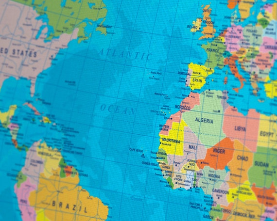 Colorful World Political Map Canvas Print Labeled World Map - Labeled world map