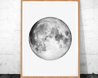 Moon Print, Moon Photo, La Luna Print, Planet Wall Art, Instant Download, Moon Photography, Moon Printable Art, Moon Art,  Full Moon Poster
