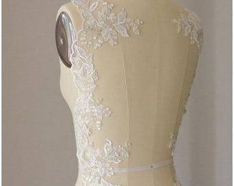 2x 1 yard mirrored SILVER/ OFF-White elegant flower lace Trim, Alencon Lace Trim, Bridal Lace, Flower Lace, Lace Embroidery, (CLT18551)