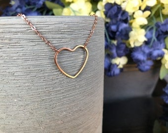 Rose gold heart necklace rose gold chain necklace