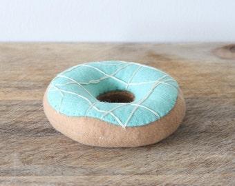 Felt Doughnut - Felt Play Food - Felt Teal Doughnut - Felt Food - Pretend Doughnut - Pretend Food - Play Food - Felt Donut - Drizzle Donut