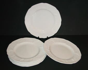 Colony Harvest Milk Glass Dinner Plates (7), Grapes & Leaves, Dinnerware, Indiana Glass