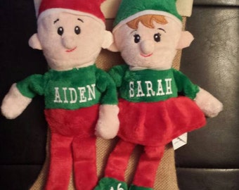 Personalized Elves, Babys First Christmas, Personalized Stuffed Animal, Christmas stuffed animal, Monogrammed Elf, First Christmas, Elves