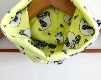 Summer Snood / scarf tubular girl, Jersey Flower Panda fabrics on a yellow background