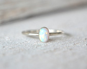 Oval Ring. White Opal Ring. Silver Opal Ring, Stacking Ring, Stackable Ring, Skinny Ring, Dainty Opal Ring, Dainty Ring, Simple Opal Ring