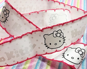 Pink and white Hello Kitty kawaii ribbon