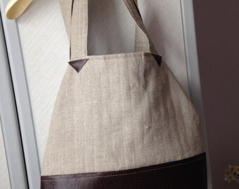 Handmade Shopping Bag, Tote, Two-Way Shopping Bag, Large Fabric/Faux Leather Bag, Shoulder Bag