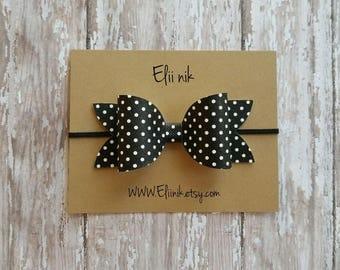 "Polka-dot bow headband, black and white polka-dot bow, baby-girl bow headband, hair clip bow, 4"" black bow clip, baby bow headband, baby bow"