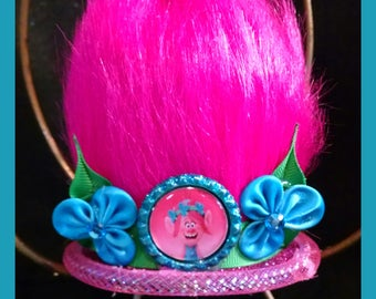 "Trolls Inspired mini mad hatter top hat, mini top hat with ""troll"" hair,"