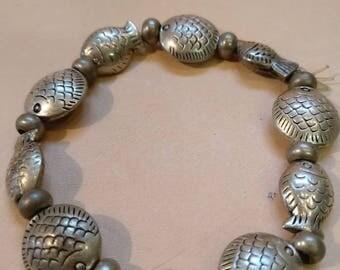 Vintage Tibetan Silver Bracelet, Fish Charms