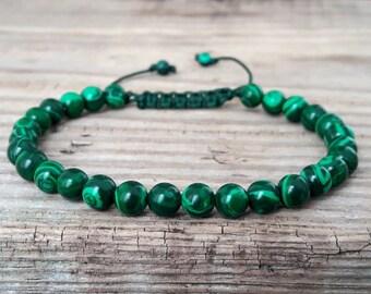 Malachite bracelet men beaded bracelet healing bracelet power bracelet yoga jewelry bracelet homme malachite green stone bracelet mens gift