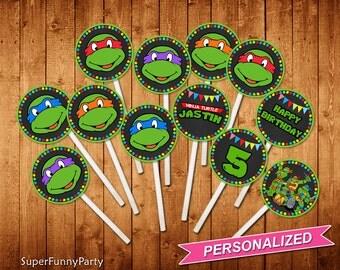 Teenage Mutant Ninja Turtles Cupcake Toppers, TMNT Cupcake Toppers, TMNT Printable, Personalized, Digital File