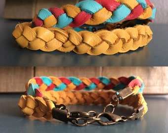 Deerskin Leather Braided Bracelet, EO Diffuser on the Go, Leather, Antique Brass Clasp