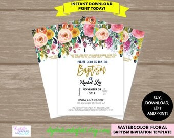 Baptism Invitation Template,Baptism Invitation,Baptism Invitation Printable,Communion,Girl,Boy,Digital Download,Editable PDF Template,boho