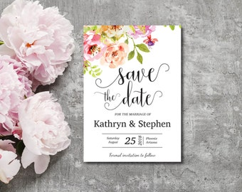 Save The Date Invitation, Template, Watercolor Flowers, Spring Flower Invite, Summer, Editable PDF, DIY, Printable, Instant Download E93A