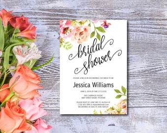 Bridal Shower Invitation, Template, Watercolor Flowers, Spring Flower Invite, Summer, Editable PDF, DIY, Printable, Instant Download E94A