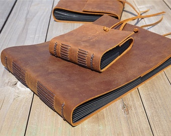 Custom Leather Album Scrapbook Handmade Wedding Book Rustic Vintage