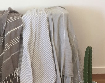 GREY LOVERS pack of THREE 100% organic cotton turkish towels / throws