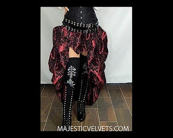 Ready to ship Steampunk Victorian Taffeta Bustle SKIRT ONLY Wine Black DAMASK Costume for Cosplay Halloween