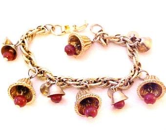 Vintage Cherry Red Jingle Bells Charm Bracelet gold tone chain link
