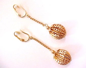 1960s Gold Ball Dangle Earrings Sarah Coventry vintage Saucy Swingers