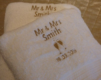Personalised wedding gift - Mr & Mrs personalised towels