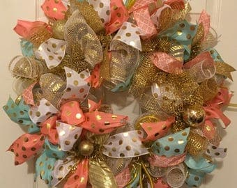 Spring Wreath, Easter Wreath, White Gold Deco Mesh Wreath, Ribbon Wreath, Mint, Coral, White, Gold, Polka Dots, Front Door Wreath, Home Deco