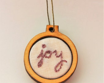 "Joy Embroidery Hoop Necklace - 1"" - Catholic/Christian"