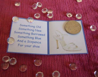 Lucky Wedding Sixpence with Gift card and poem, lucky sixpence for the bride to be. Sixpence for Brides Shoe, left shoe. Bridal Shoe picture