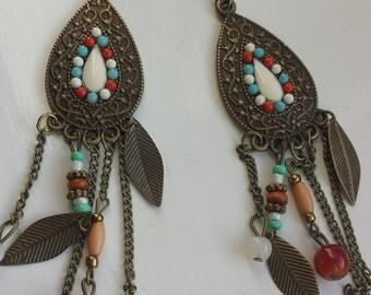 Retro leaf earrings