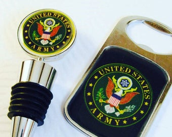Army Gift- Army Barware- Army Bottle Opener- Army Bottle Stopper- Military Gift