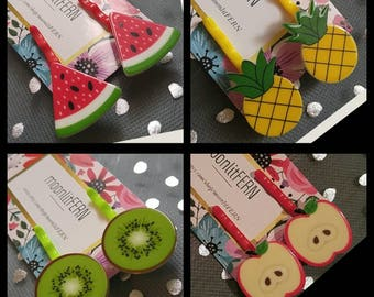 Fruit-inspired Hair Pins. Bobby Pins for Girls. Hair Accessories. Pineapple, Watermelon, Kiwi, Apple. Teacher appreciation. Gift summertime