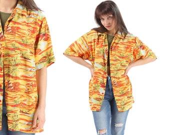 Hawaiian Shirt 80s Tropical Shirt Palm Tree Blouse Yellow Orange Surfer Button Up Shirt Sailboat Print Boho Top Beach Sea Ocean Large