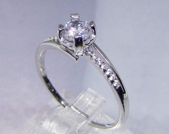 Promise ring Diamond Cz rhodium plated 925 sterling silver, gem stones for women sterling silver white