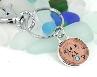 Personalized 21st Birthday Lucky Penny with Swarovski Birthstone Keepsake Handbag Charm Keyring Gift.