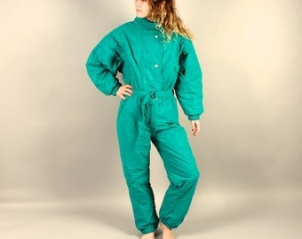 All in One Ski Suit 90s Women's Ski Suit Green Winter Suit Outdoor Suit Downhill Skiing Wear Snow Gear Jumpsuit Snowboard Suit Size Large