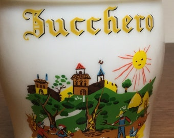 Vintage White Milk Glass Jar With Village Scene Marked Bucchero Made In Italy