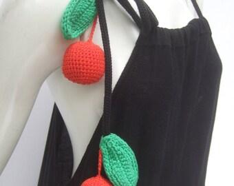 SONIA RYKIEL Unique Black Cotton Knit Cherry Trim Gown