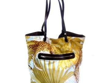 Salvatore Ferragamo Jungle Print Cloth Tote. 1990's.