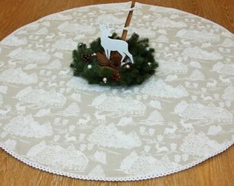 Tree Skirt, Christmas Tree Skirt, White tree skirt, Xmas tree skirt, Eco, Deer, Gift