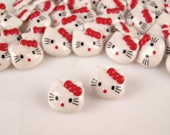5 pcs Cat Hello Kitty Buttons, White Plastic Button Kitty with a Red Bow 15x15mm, for Childrens Clothing, Knitting Sewing